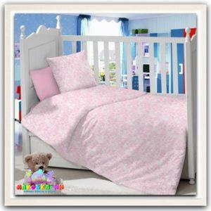 """Постельное для новорожденных """"Ажур"""" розового цвета"""
