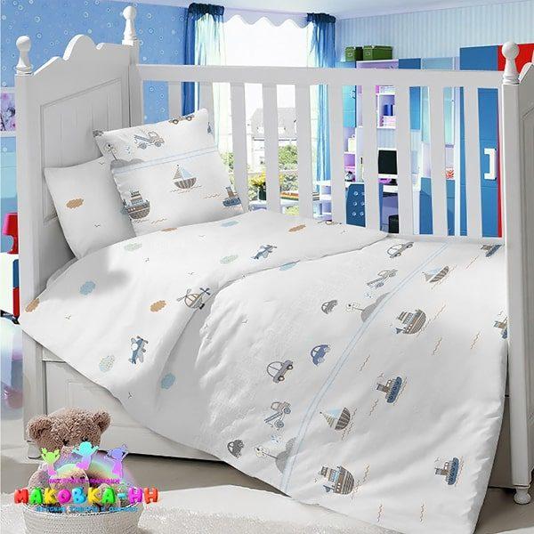 Комплект в кроватку для новорожденных«Форсаж» из сатина