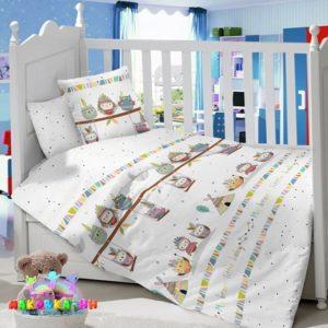 Набор постельного белья в кроватку для новорожденных«Храбрые инди» из сатина