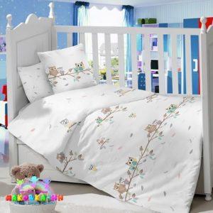 Комплектв кроватку из сатина«Совушки»сатин