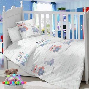 Комплект в кроватку для новорожденных«Супергерой»из сатина