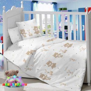 Комплектв кроватку из сатина«Медвежата на прогулке»