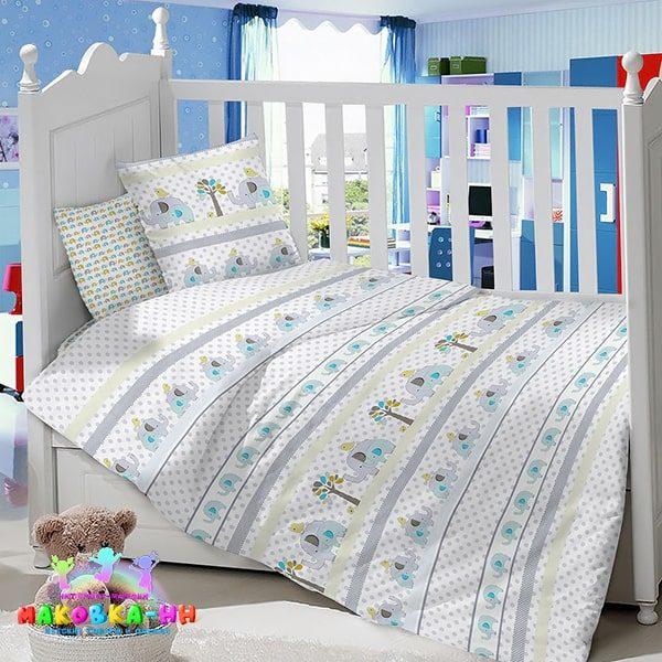 Комплект в кроватку для новорожденных из сатина «Слоник»