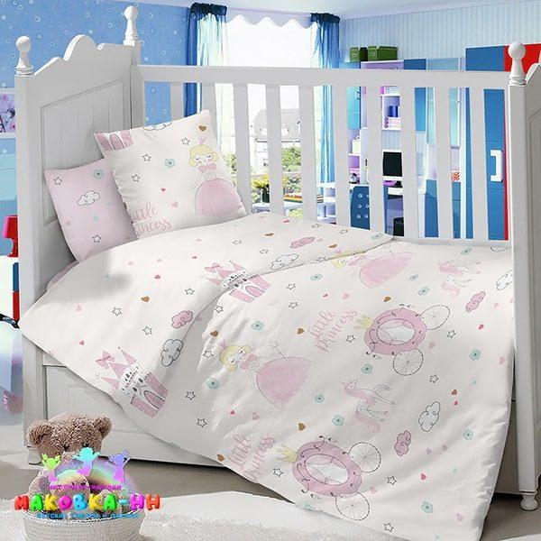 Комплект в кроватку из сатина для новорожденных«Маленькая принцесса»
