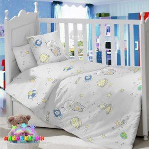 Комплектв кроватку для новорожденных сатин«Космик»