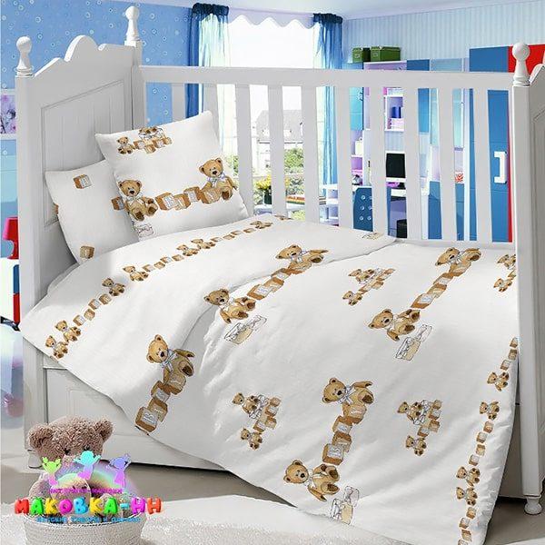"""Постельное белье в кроватку из сатина """"Мишка Топотыжка"""" для новорожденных"""
