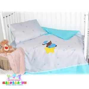 Набор в кроватку для новорожденных«Плюшевый медвежонок» с аппликацией