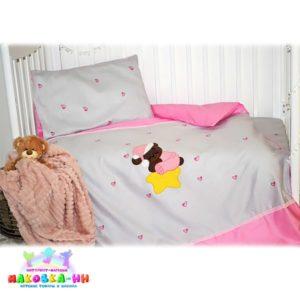 Комплект в кроватку для новорожденных«Спящая медведица» с аппликацией