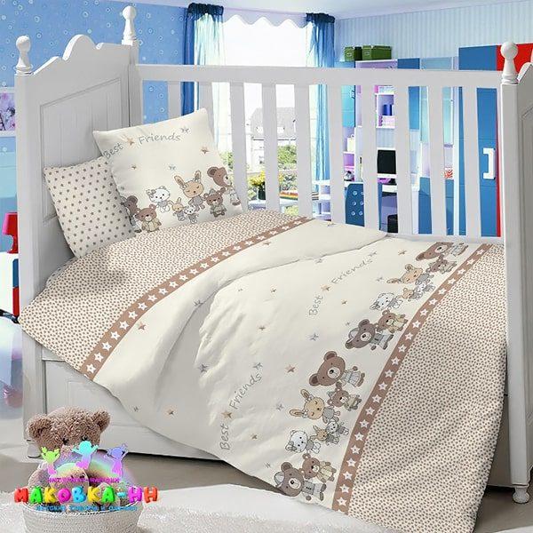 Комплект постельного белья для новорожденных «Веселые друзья» из сатина