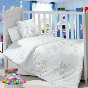 Набор в кроватку для новорожденных«Зайка на лужайке»