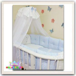 """Комплект в кроватку для новорожденных серии """"Зефир"""" голубого цвета"""