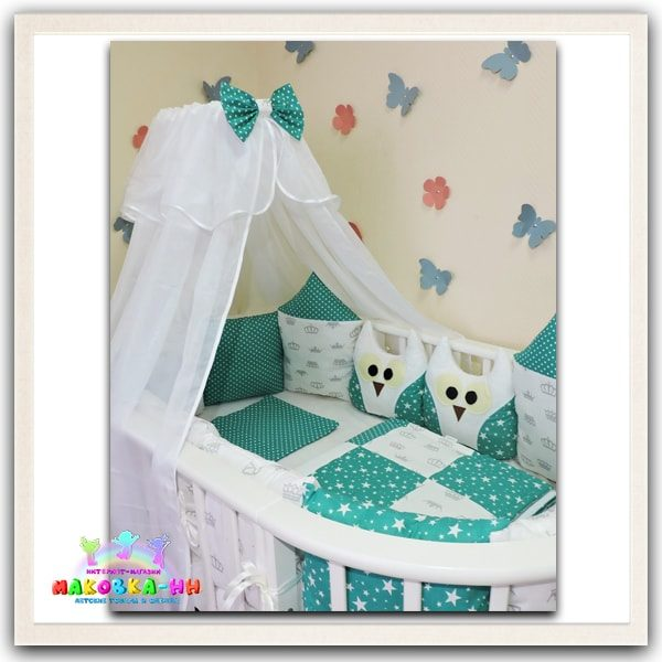 """Комплект в кроватку для новорожденных """"Сказка"""" зеленого цвета"""