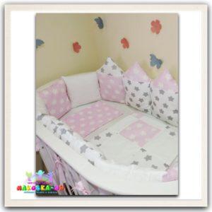 """Комплект в кроватку для новорожденных """"Городок"""" розового цвета"""