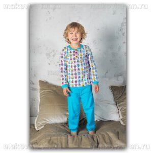"""Пижама для мальчика """"Роботы"""" с длинным рукавом"""