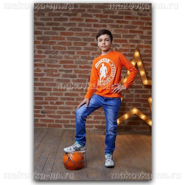 """Футболка для мальчиков """"Футбол"""" оранжевого цвета"""