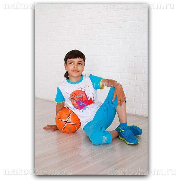"""Футболка для мальчиков """"Баскетболист"""" голубого цвета"""