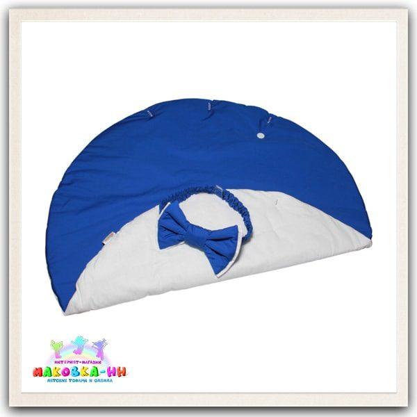 """Летний конверт-одеялона выписку """"Пуговка"""" голубого цвета"""