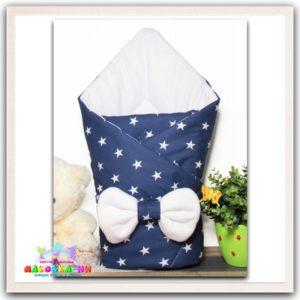 """Летний конверт-одеялона выписку """"Звезды"""" синего цвета"""