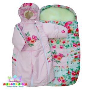 """Сет-комплект для новорожденных """"Прелесть"""" 3 в 1 розового цвета"""