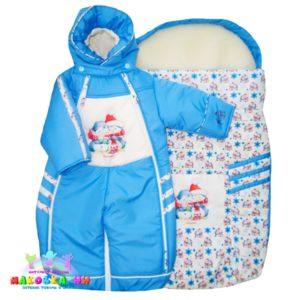"""Сет-комплект для новорожденных """"Снегопад"""" 3 в 1 голубого цвета"""