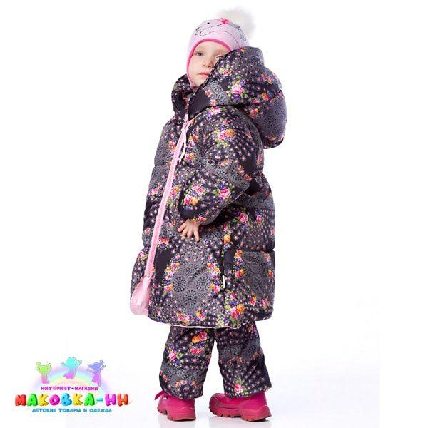 """Зимний пальто-пуховик для девочки """"Коко"""" принт узоры"""