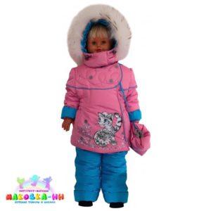 """Зимний комплект для девочки """"Снежный барс"""" розовый/тем. бирюза"""