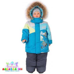 """Зимний комплект для мальчика """"Экстрим"""" бирюза"""