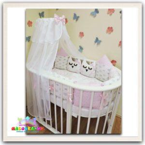 """Комплект в кроватку для новорожденных8 предметов серии """"Сказка"""" розовый"""