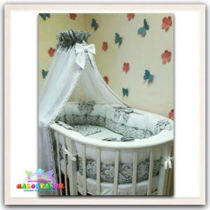"""Комплект в кроватку для новорожденных6 предметов """"Нежность"""" серого цвета"""