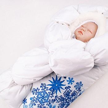 Зимний конверт на выписку для новорожденного на весну и осень
