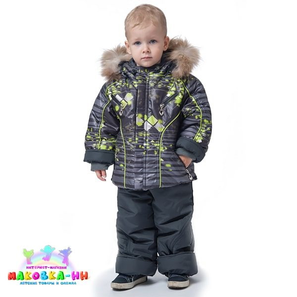 """Зимний комплект для мальчика """"Полоса"""" серо-салатового цвета"""
