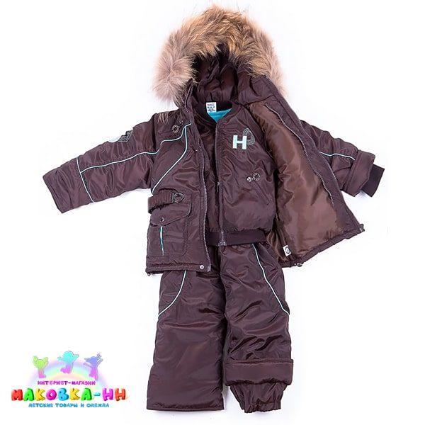 """Зимний комплект для мальчика 3 в 1 """"Ралли"""" коричневый/ментол"""