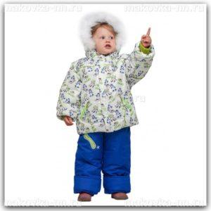 """Зимний комплект для мальчика """"Горки"""" сине-салатового цвета"""