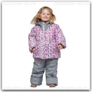 """Зимний комплект для девочки""""Спорт""""серо-розового цвета"""