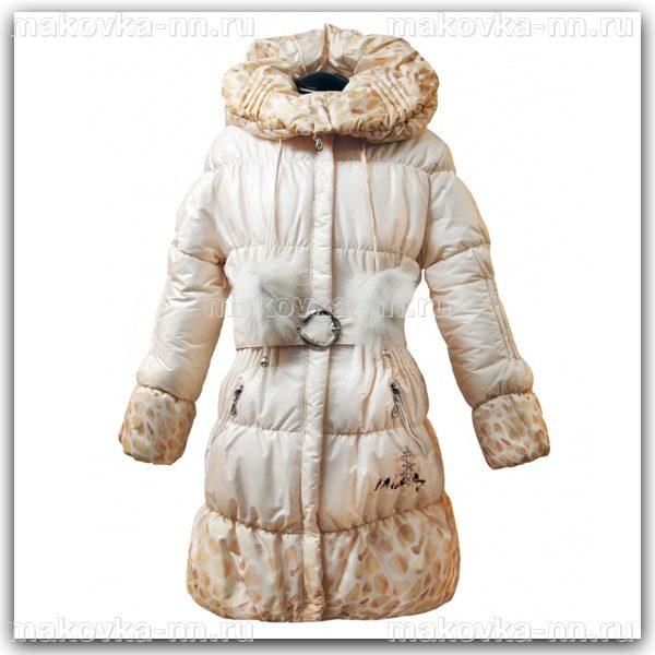 """Зимняя куртка для девочки """"Ассоль"""" бежевого цвета"""