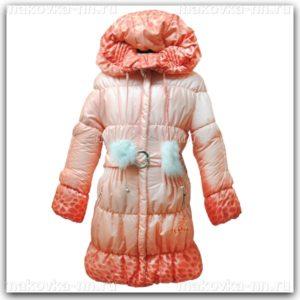 """Зимняя куртка для девочки """"Ассоль"""" оранжевого цвета"""
