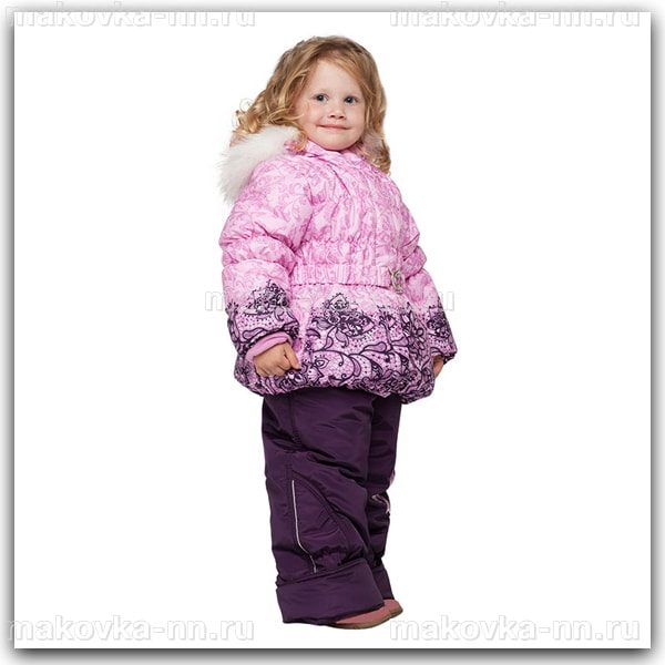"""Зимний комплект для девочки""""Бант""""розового цвета"""