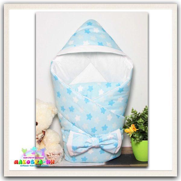 """Летний конверт-одеялона выписку """"Микс"""" голубого цвета"""