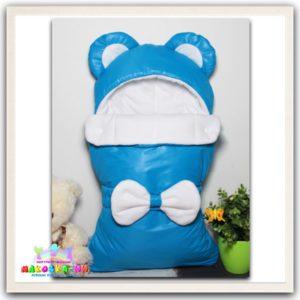 """Конверт на выписку для новорожденных """"Мишка"""" голубого цвета"""