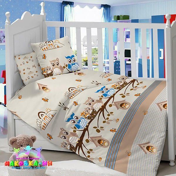 """Комплект постельного белья в кроватку для новорожденных """"Совята"""" из сатина"""