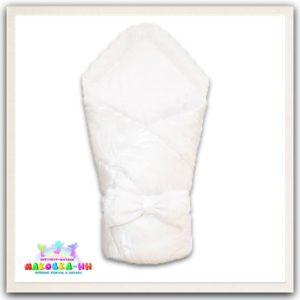 """Зимний конверт-одеялона выписку """"Праздник"""" белого цвета"""