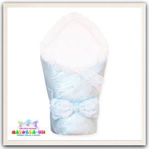 """Зимний конверт-одеялона выписку """"Праздник"""" голубого цвета"""