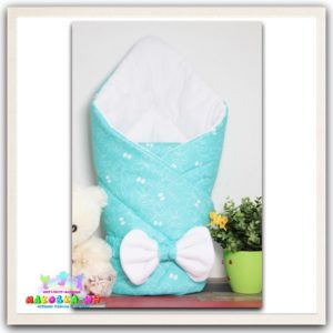 """Конверт-одеяло на выписку для новорожденных """"Мятное настроение"""" зимний"""