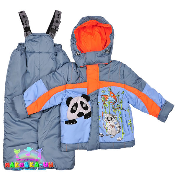 """Демисезонный комплект для мальчика """"Панда"""" голубой/оранжевый"""