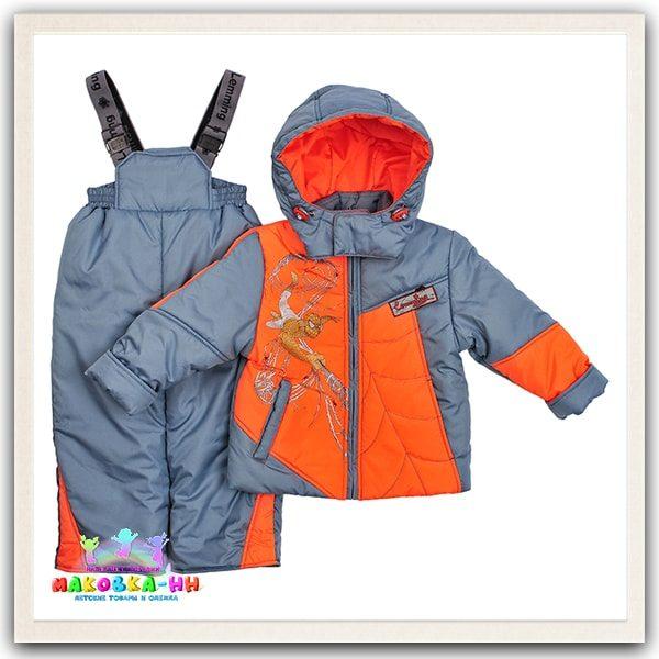 """Демисезонный комплект для мальчика """"Паук"""" цвет оранжевый/сталь"""