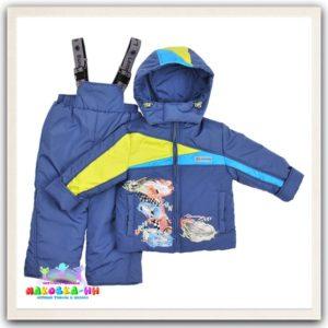 """Демисезонный комплект для мальчика """"Неон"""" цвет серо-синий/салатовый"""