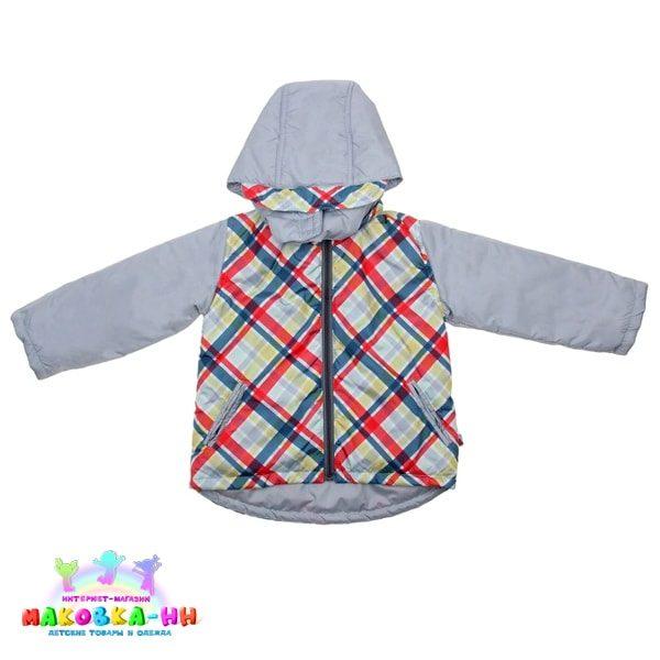 """Куртка для мальчика """"Лорд"""" цвет жемчужный / принт клетка"""