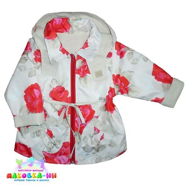 """Куртка для девочки весна-осень """"Шанталь"""" цвет экрю / принт розы"""