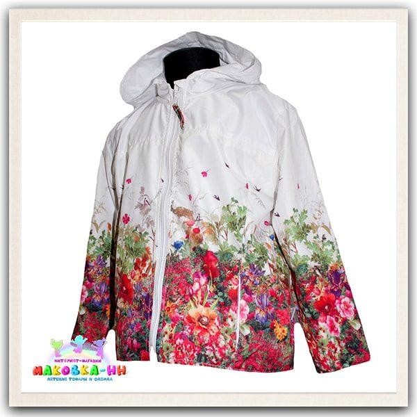 """Ветровка для девочки весна-осень """"Дива"""" белого цвета / принт полевые цветы"""