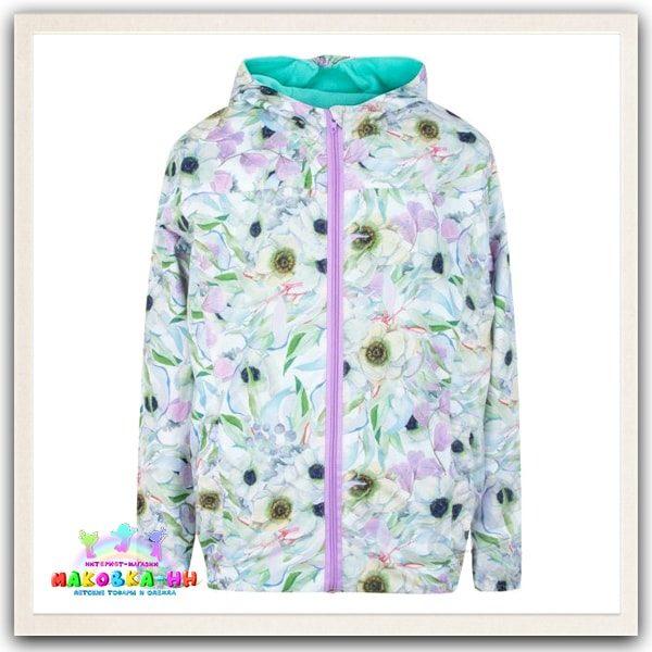 """Куртка для девочки весна-осень """"Акварель"""" принт цветы"""